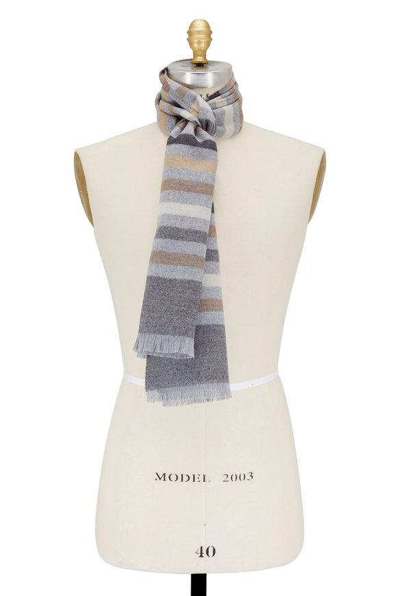 Eton Charcoal Gray Striped Wool Scarf