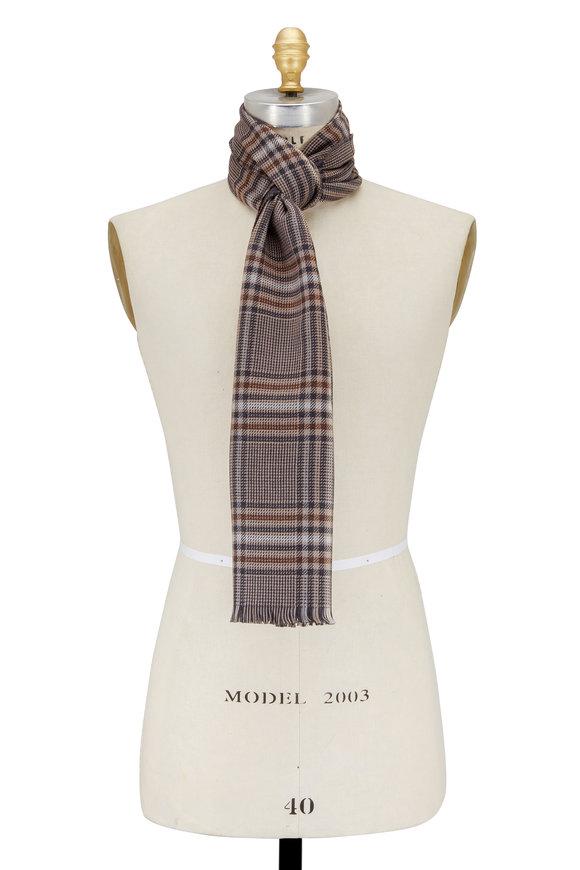 Eton Gray & Brown Plaid Wool Scarf