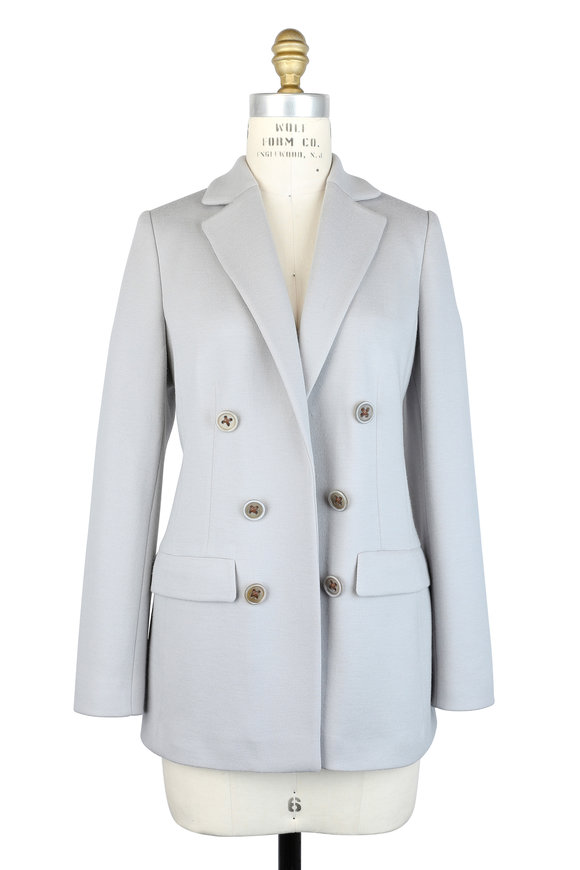Agnona Gray Stretch Wool Double-Breasted Jacket