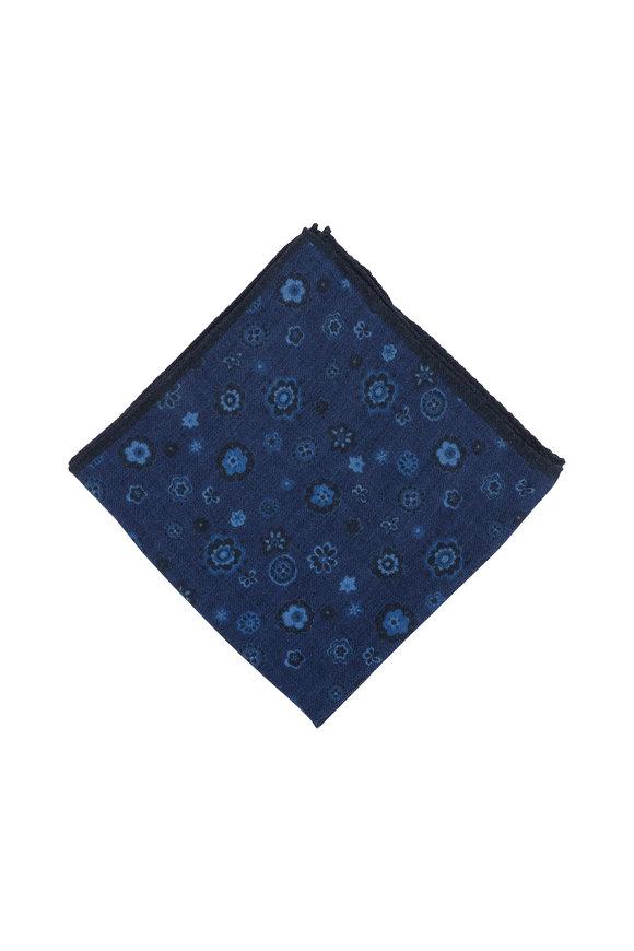 Kiton Blue Floral Print Wool Pocket Square