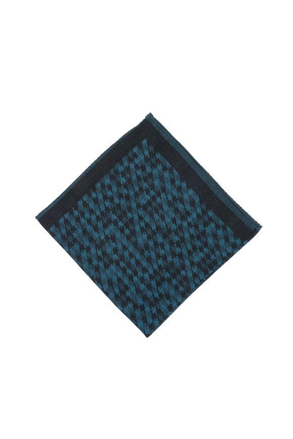 Kiton Teal Geometric Patterned Wool Pocket Square