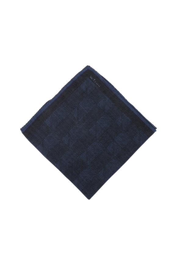 Kiton Dark Gray Herringbone Wool Pocket Square