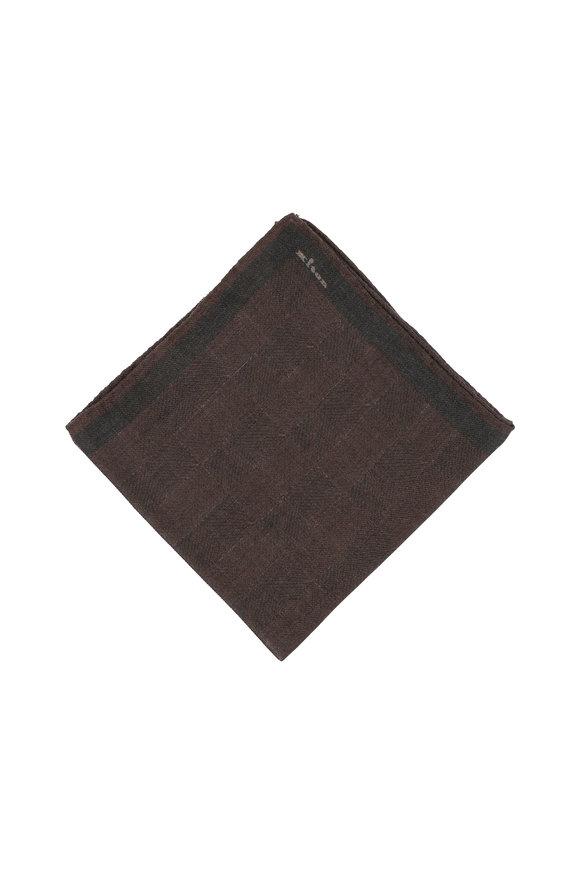 Kiton Brown Herringbone Wool Pocket Square
