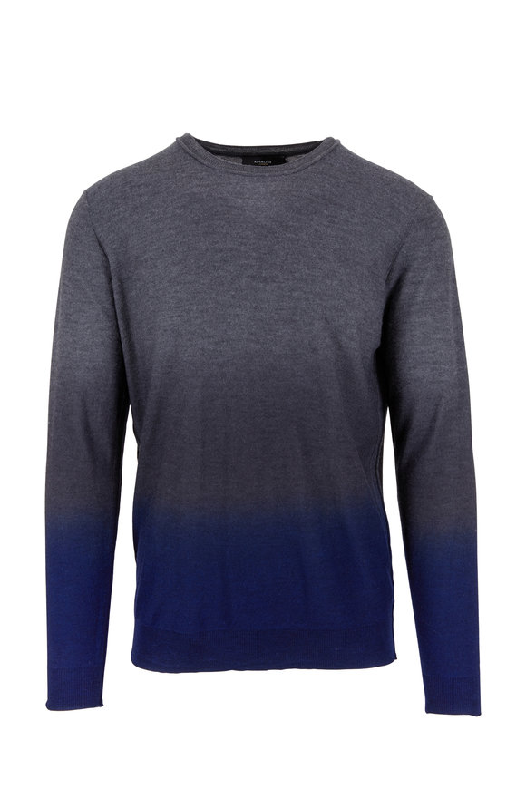 Kinross Charcoal Gray Worsted Cashmere Crewneck Sweater