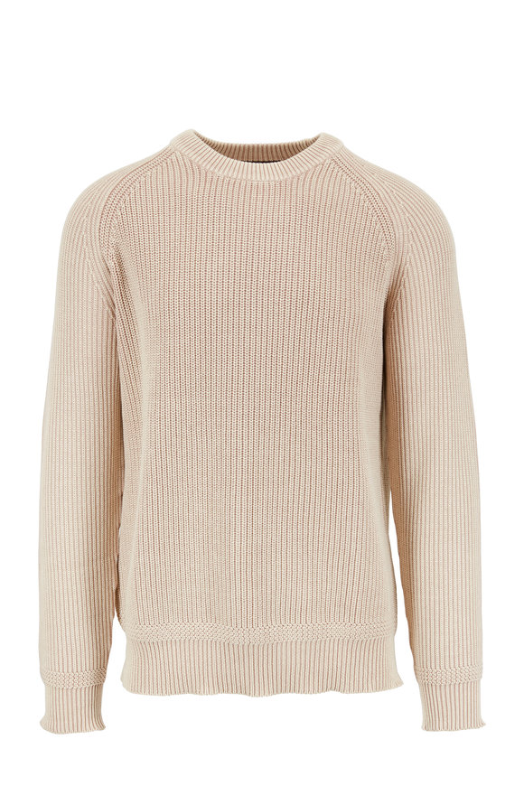 Kinross Natural Ribbed Cotton Crewneck Sweater