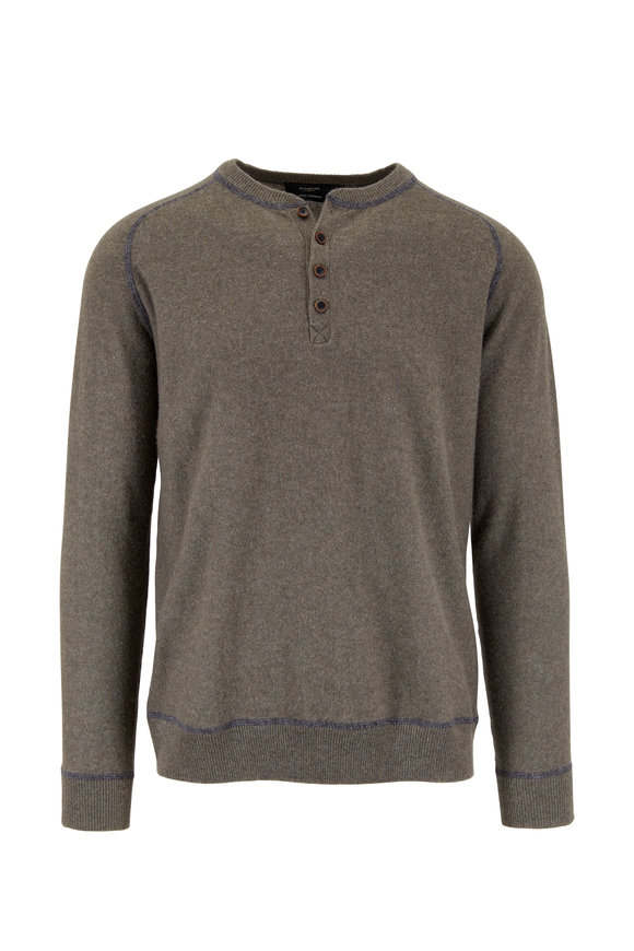 Kinross Olive Green Cashmere Henley Sweater