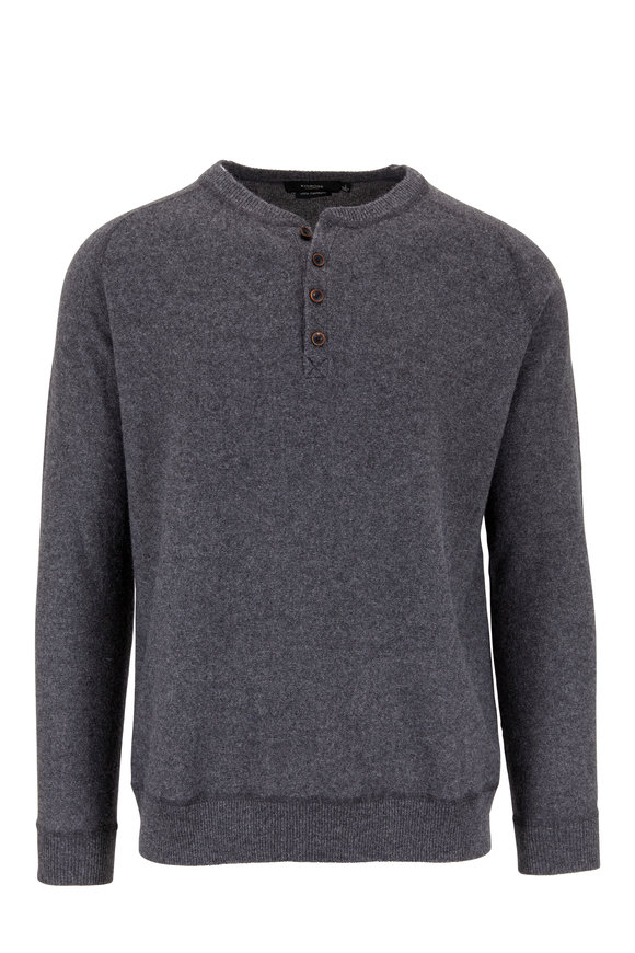Kinross Charcoal Gray Cashmere Henley Sweater