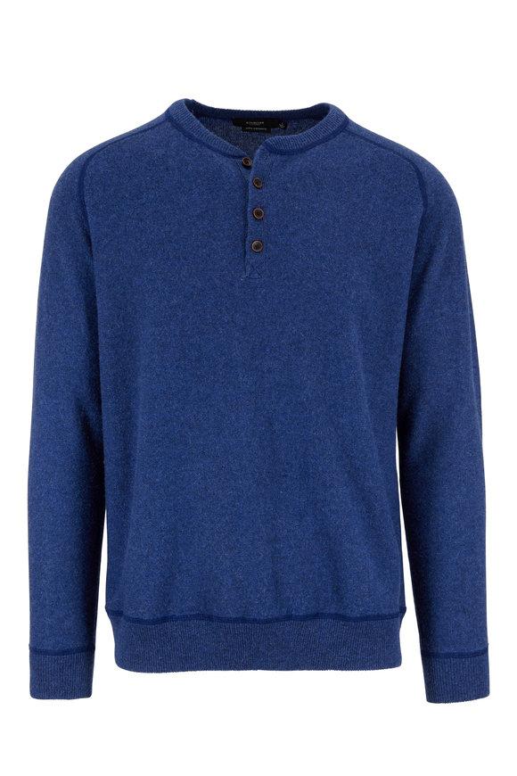 Kinross Indigo Cashmere Henley Sweater