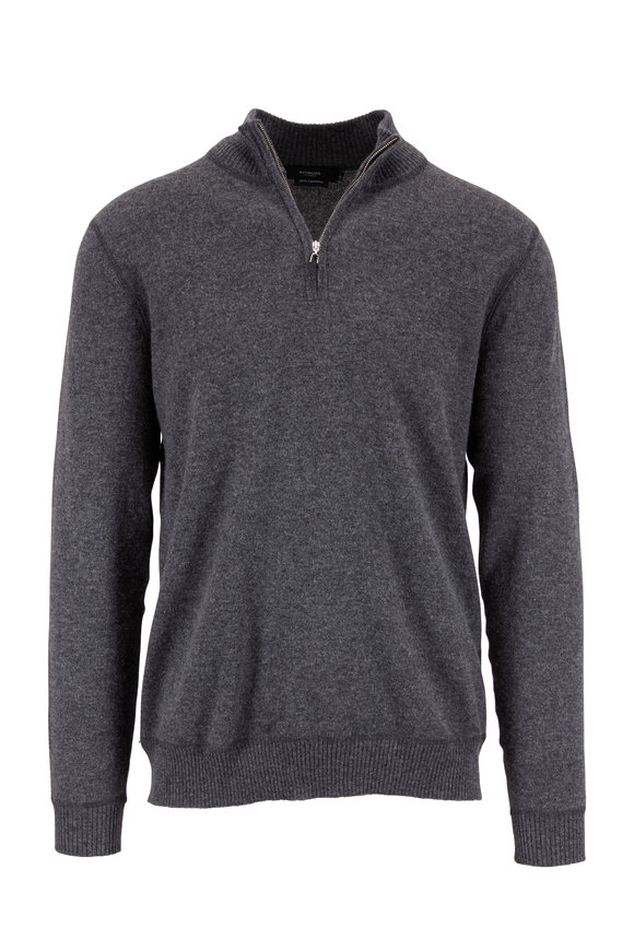 Kinross Charcoal Gray Cashmere Quarter-Zip Pullover