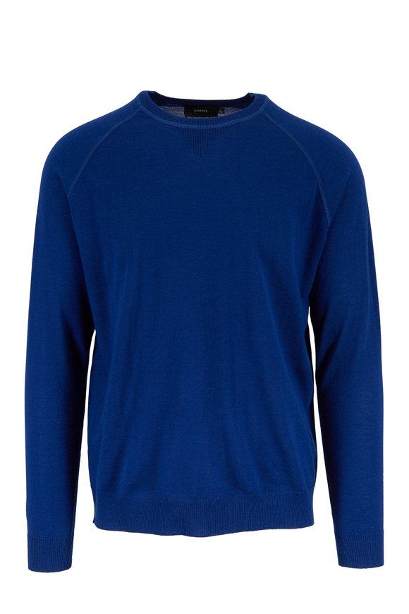 Kinross Indigo Blue Merino Wool Raglan Sweater