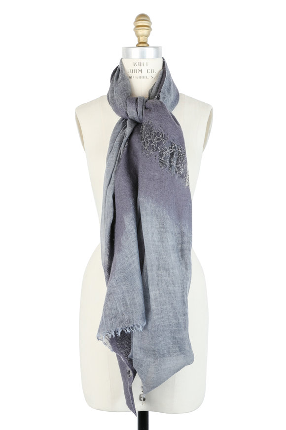 Faliero Sarti Gray Lace Inset Wool Scarf