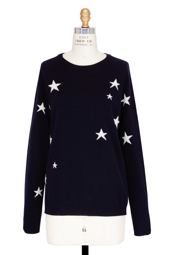 Chinti & Parker Navy Cashmere Star Sweater