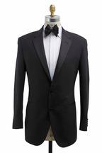 Coppley - Black Worsted Wool Flat Front Tuxedo