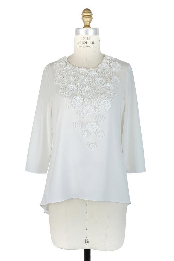 Oscar de la Renta White Silk Floral Embellished High-Low Blouse