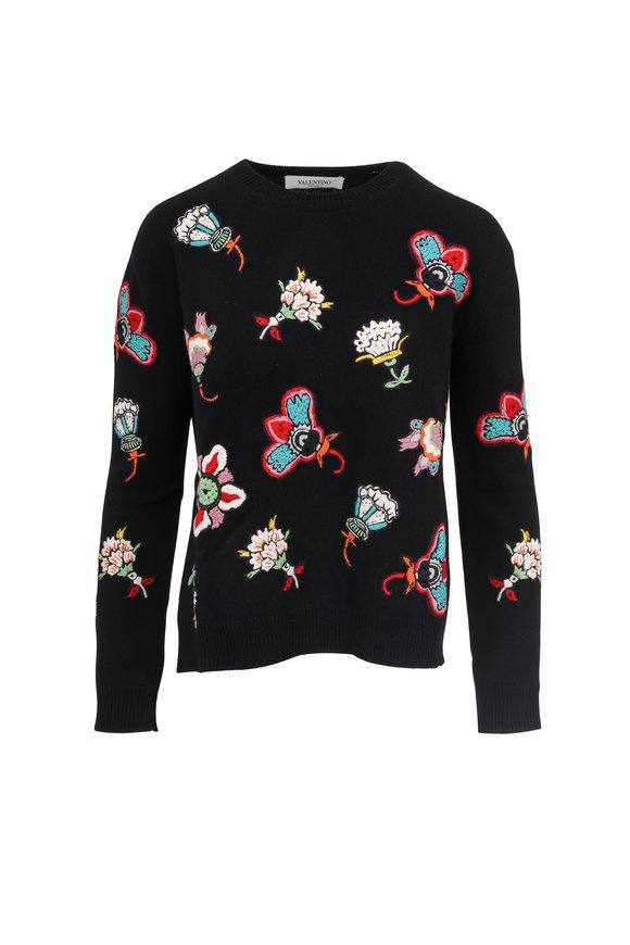 Valentino Black Wool Flower Embroidered Sweater