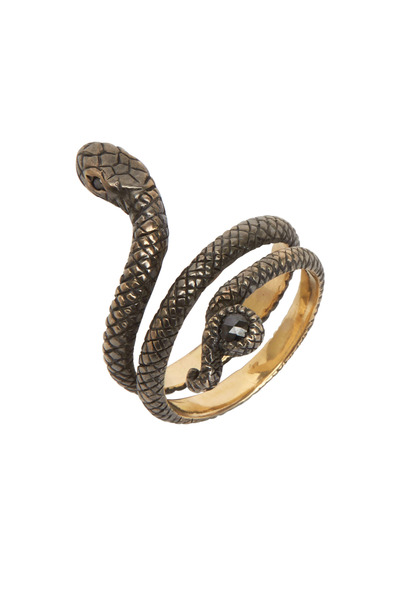 Sylva & Cie - Yellow Gold Black Diamond Snake Ring