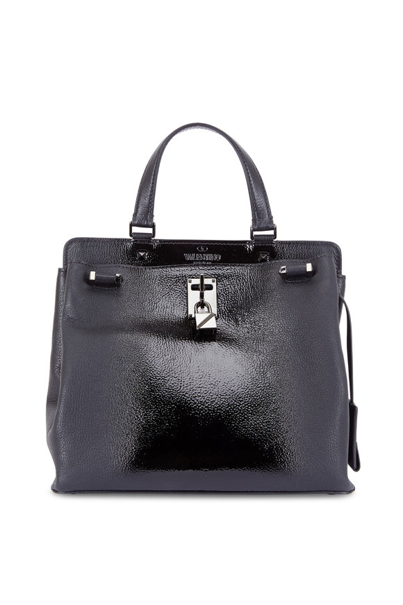 Valentino Joylock Black Grained & Patent Leather Medium Tote