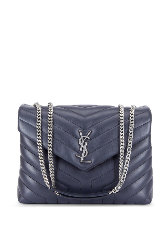 Saint Laurent Loulou Monogram Graphite Quilted Leather Chain Bag