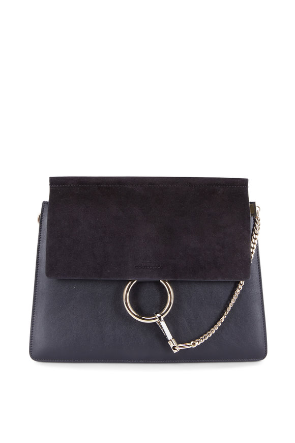 Chloé Faye Black Leather & Suede Shoulder Bag