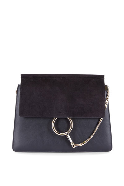 Chloé - Faye Black Leather & Suede Shoulder Bag