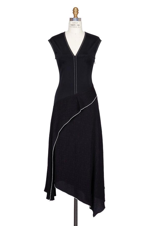 Colovos Black Mixed Media V-Neck Dress