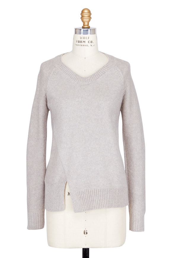Colovos Sand Merino Asymmetric Hem Sweater