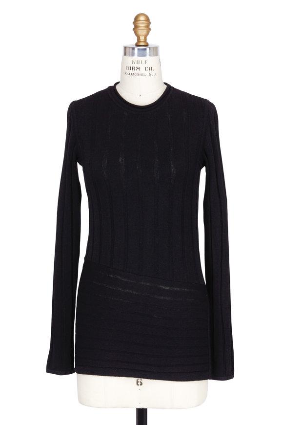 Colovos Black Merino Asymmetric Hem Sweater