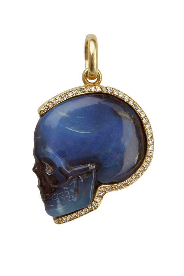 Yellow Gold Opal Skull Diamond Pendant