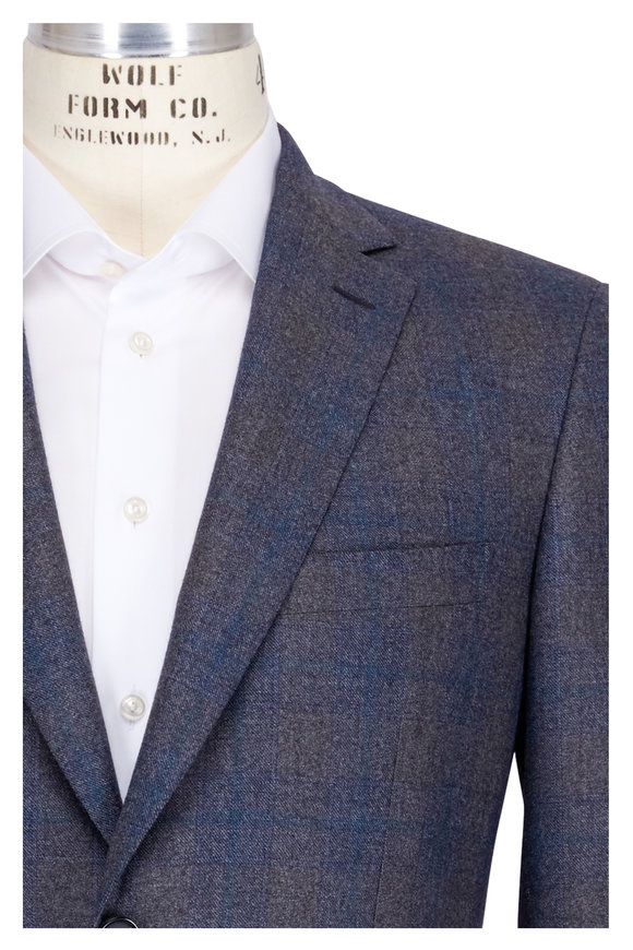 Brioni Gray Tonal Plaid Sportcoat