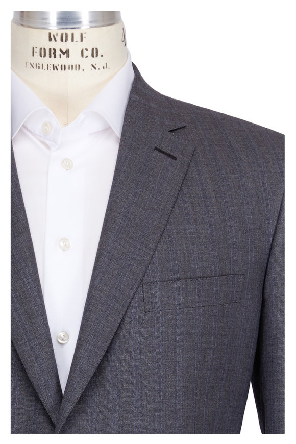 Brioni Gray Tonal Striped Suit