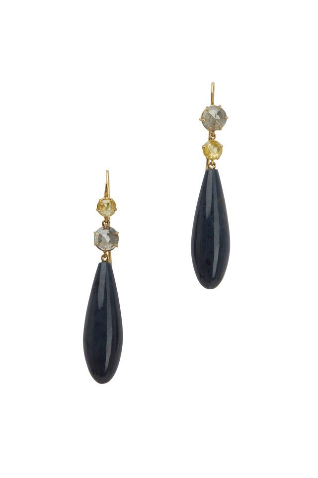 Gold Dumortierite & Sapphire Diamond Earrings