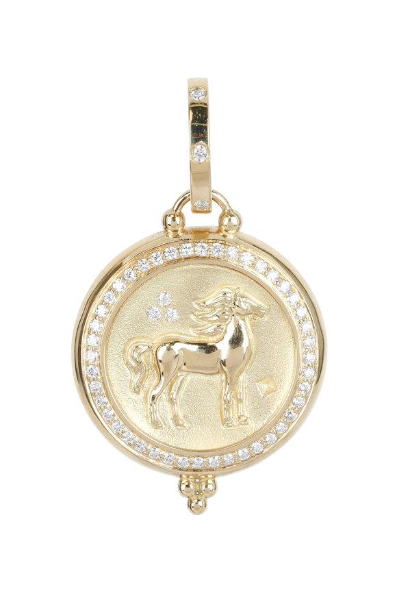 Temple St. Clair 18K Yellow Gold Pavé Diamond Horse Coin Penant