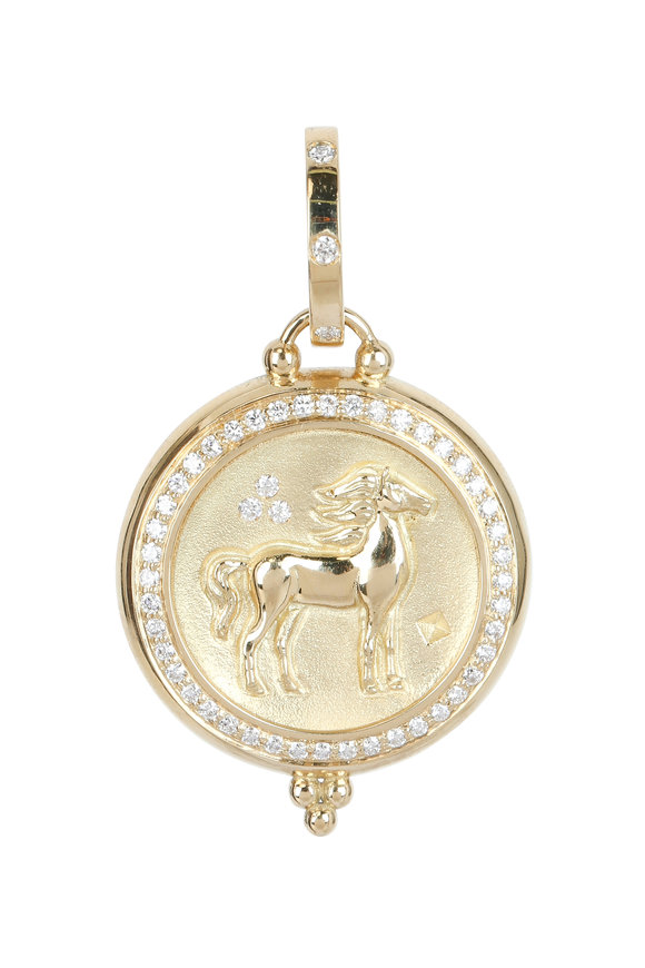 Temple St. Clair 18K Yellow Gold Pavé Diamond Horse Coin Penant