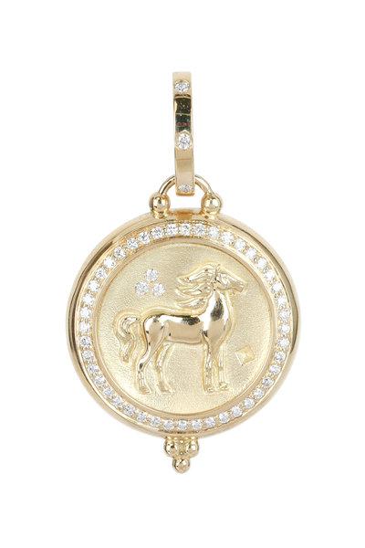 Temple St. Clair - 18K Yellow Gold Pavé Diamond Horse Coin Penant