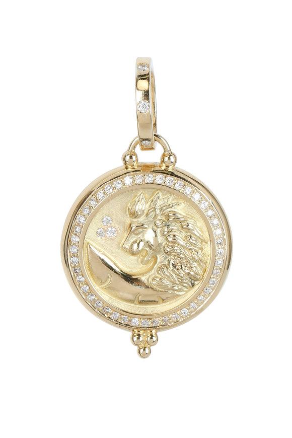 Temple St. Clair 18K Yellow Gold Pavé Diamond Lion Coin Pendant