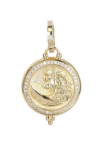 Temple St. Clair - 18K Yellow Gold Pavé Diamond Lion Coin Pendant