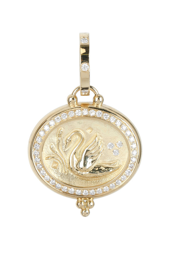 Temple St. Clair 18K Yellow Gold Pavé Diamond Swan Coin Pendant