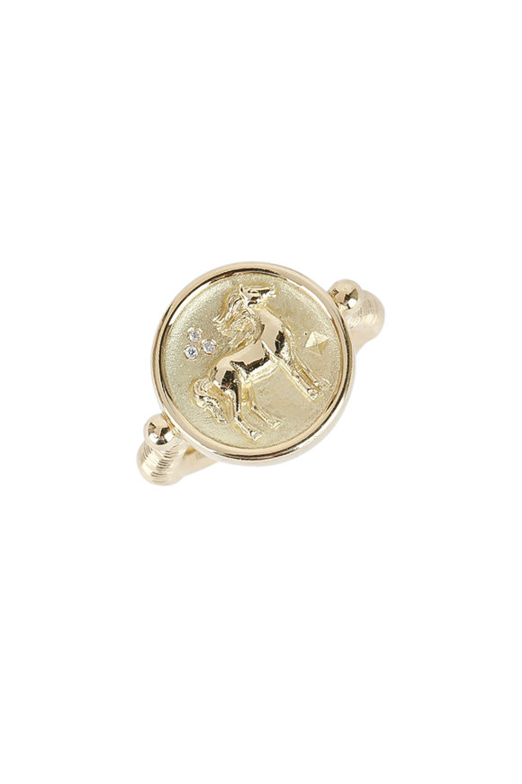Temple St. Clair 18K Yellow Gold Diamond Horse Coin Ring