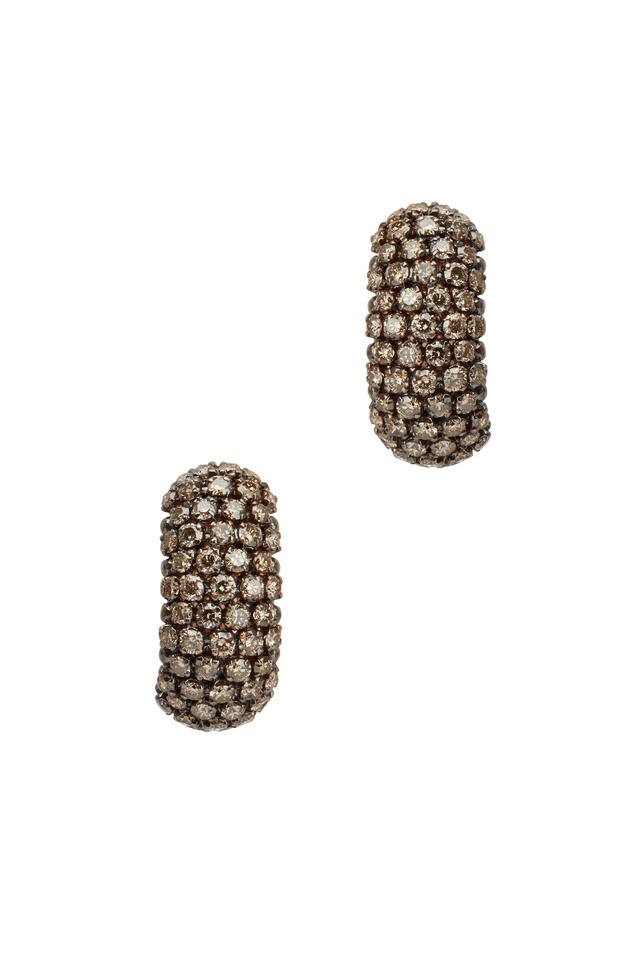 Pink Gold Brown Diamond Huggie Earrings