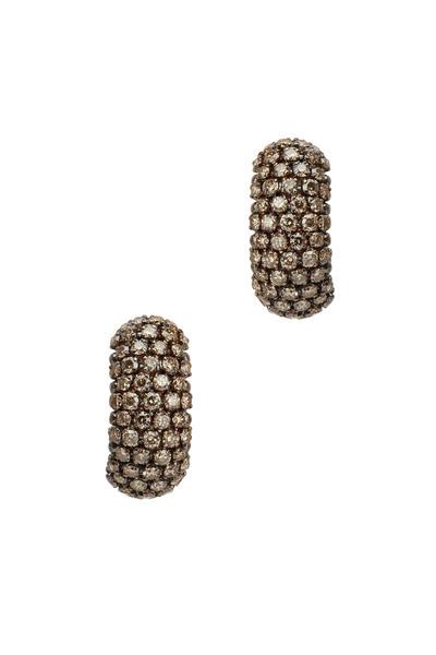 Eclat - Pink Gold Brown Diamond Huggie Earrings