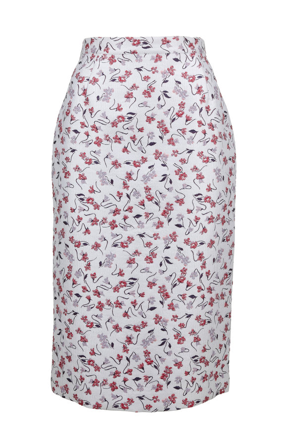 Altuzarra Honeysuckle Lilac Floral Jacquard Pencil Skirt