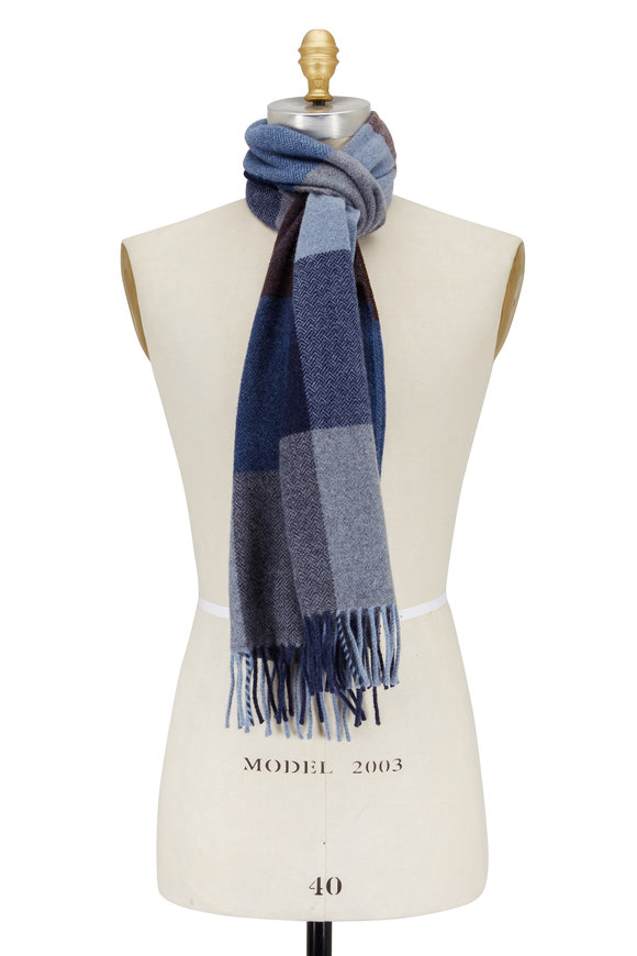 Alex Begg Harris Denim Blue Wool & Angora Scarf