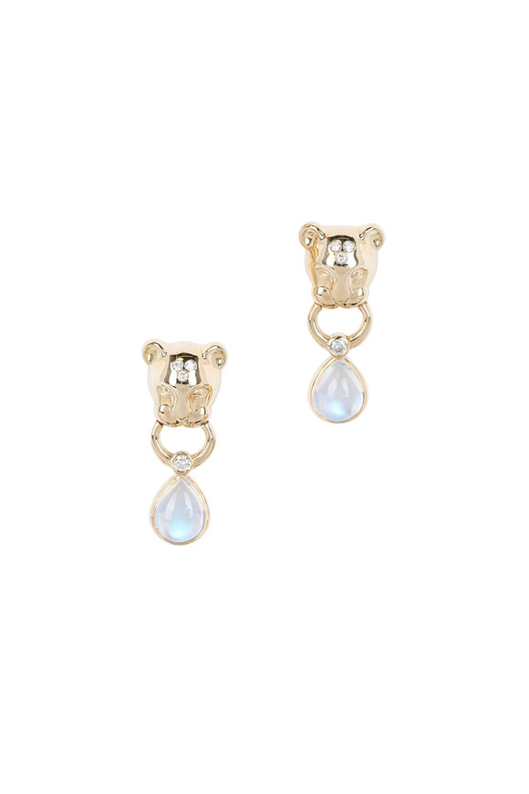 Temple St. Clair 18K Yellow Gold Blue Moonstone Lion Drop Earrings