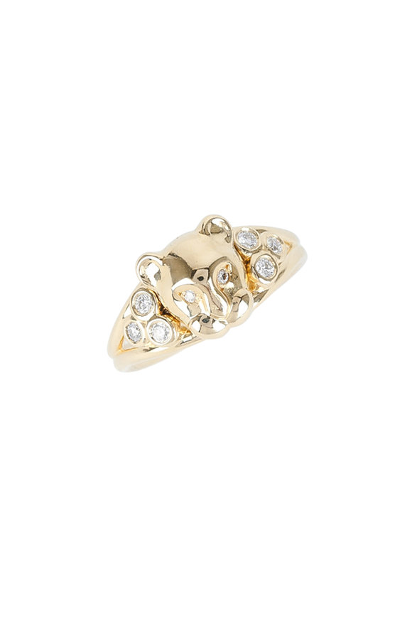 Temple St. Clair 18K Yellow Gold Diamond Lion Ring