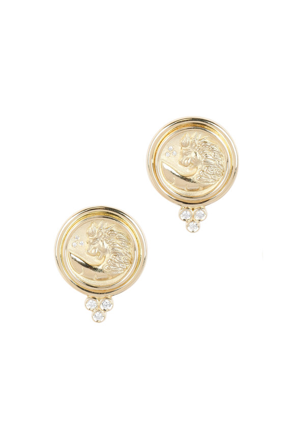 Temple St. Clair 18K Yellow Gold Diamond Lion Earrings