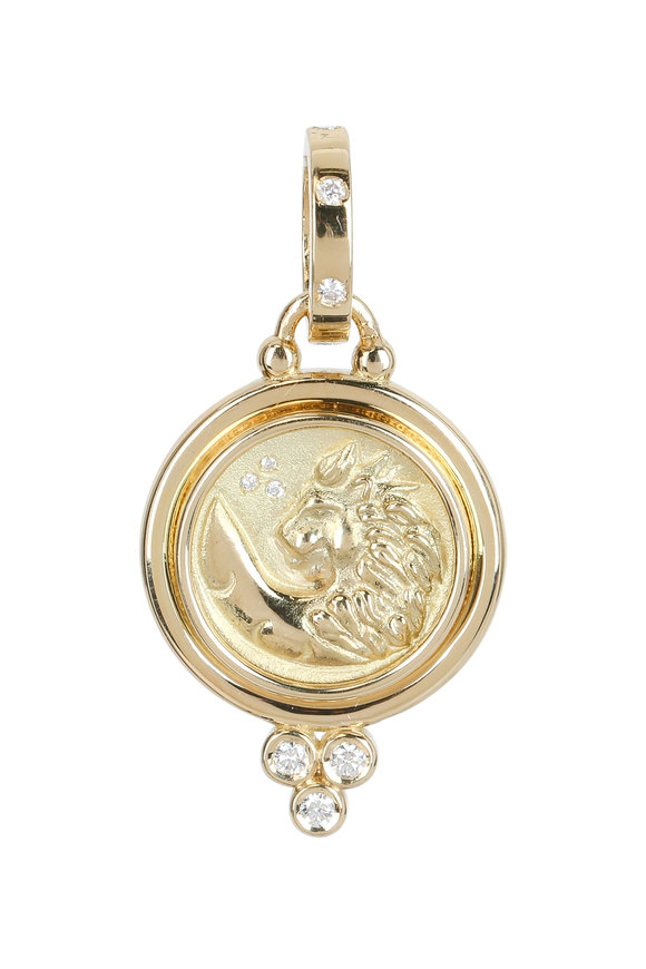 Temple St. Clair 18K Yellow Gold Diamond Lion Pendant
