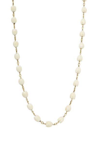 Sylva & Cie - Yellow Gold Antique Ivory Lei Necklace