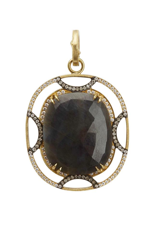Yellow Gold Sapphire Diamond Pendant