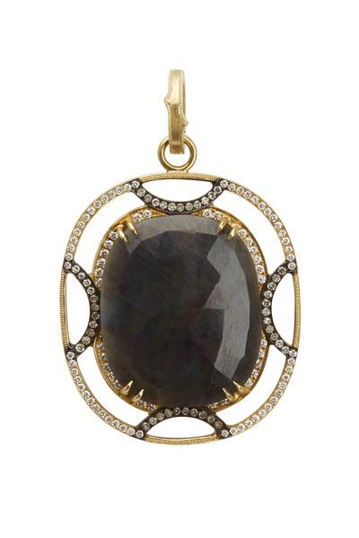 Sylva & Cie - Yellow Gold Sapphire Diamond Pendant