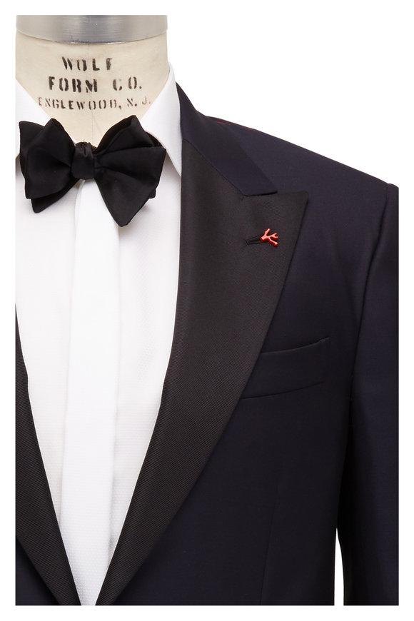 Isaia Navy Blue Peak Lapel Tuxedo